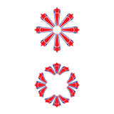 Red and blue stars. Set of two fireworks with red and blue stars Stock Photography