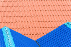 Red and Blue Steel Sheet Roof Stock Image