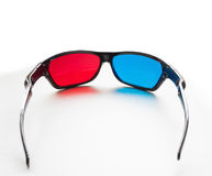 Red and blue on stereo glasses. For three dimensional movie on white background royalty free stock photography