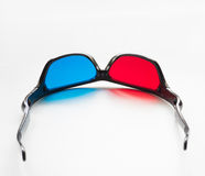Red and blue on stereo glasses. For three dimensional movie on white background royalty free stock image