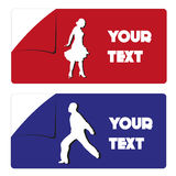 Red and blue sticker Stock Photo