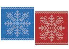 Red and blue stitch patterns with snowflakes Royalty Free Stock Image