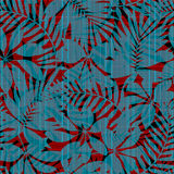 Red and blue striped tropical leaves seamless pattern Stock Photos