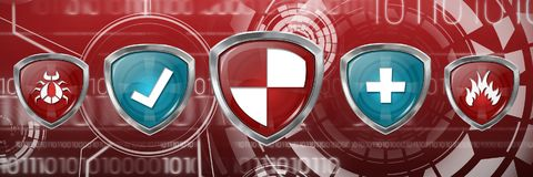 Composite image of red and blue symbols Royalty Free Stock Image