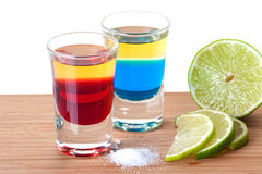 Red and Blue Tequila Stock Photos