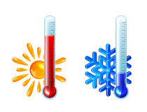 Red and blue thermometers Stock Photography