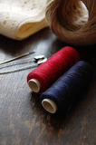 Red and blue Thread and twine. Materials for hand crafts royalty free stock image