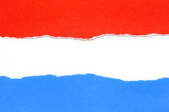 Red and blue torn paper with white Royalty Free Stock Photography