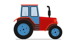 Red blue Tractor  on white flat illustration work clipping path. A farm red blue Tractor  on white flat illustration work clipping path Royalty Free Stock Photography
