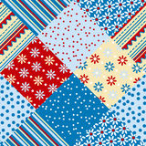 Red and blue traditional patchwork Stock Photography