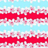 Red and Blue tropical frangipani seamless pattern Royalty Free Stock Photography