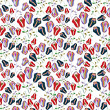 Red and blue tulips seamless pattern Stock Photography