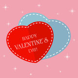 Red and blue Valentines hearts. On pink background, illustration Stock Photography