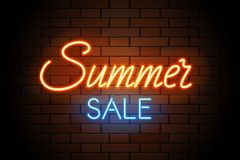 Red and blue vector neon lights uppercase signs summer SALE. Illustration transparent on realistic brick wall. Stock Photography