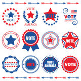 Red and blue Vote America tags and design elements set Royalty Free Stock Images