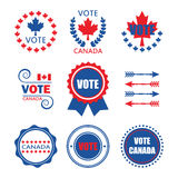 Red and blue Vote Canada emblems and design elements set Royalty Free Stock Image