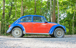Red and Blue VW. Old VW bug in Mexico stock photo