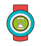Red and blue watch with media icon on the screen,  graphic Royalty Free Stock Photo