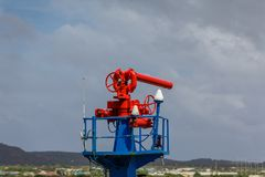 Red and Blue Water Cannon Stock Photography