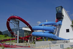 Red and blue water slide Stock Photos