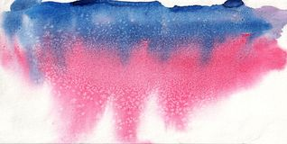 Red blue watercolor on paper Royalty Free Stock Image