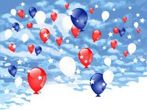 Red, blue and white balloons Royalty Free Stock Photo