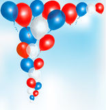 Red, blue and white balloons frame composition Stock Images