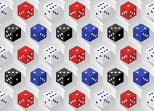 Red, blue, white and black casino dice with long shadows on a hexagonal background. Seamless pattern. Royalty Free Stock Photos