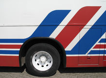 Red, blue and white bus Royalty Free Stock Photo