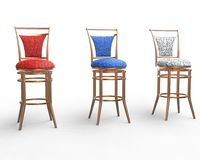 Red, blue and white coffee shop chairs Royalty Free Stock Image