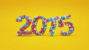 Red, blue and white colored balls forming number 2015. 3D render of red, blue and white colored balls forming number 2015. Formed number 2015 is set in yellow Royalty Free Stock Photography