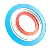 Red, blue and white copyspace round circle frames Royalty Free Stock Images