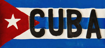 Red-blue-white Cuban flag on metal plate, Cuba. Republic of Cuba Stock Photos