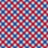 Red blue white diagonal check fabric texture seamless pattern Royalty Free Stock Photo