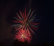 Red-Blue-White Fireworks Display. Red, blue, and white fireworks Royalty Free Stock Image