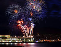 Red Blue White Fireworks Vancouver Harbor BC Royalty Free Stock Photo