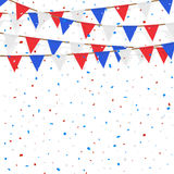 Red blue white flag decorated on  white background. A red blue white flag decorated on  white background Stock Photography