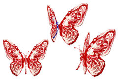 Red, blue and white painted butterfly set Stock Images