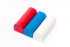 Red, blue and white plasticine - Flag of Serbia Stock Photos