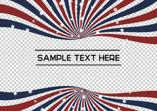 Red, Blue and White Radial Swirl with sparkling star vector background. Flag Sunburst with shining stars Illustration for backdrop, banner or advertisement royalty free illustration