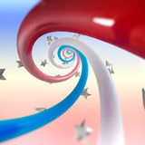 Red, blue, white stripes twirl and stars. Background royalty free illustration