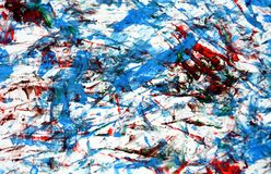 Red blue white watercolor painting abstract background and texture. Blue white red vivid watercolor painting background and texture. The colors are placed at royalty free stock photo