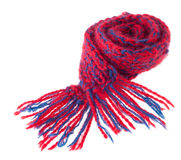 Red-Blue Winter Scarf Royalty Free Stock Photo