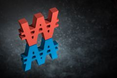 Red and Blue Won Symbol or Sign With Mirror Reflection on Dark Dusty Background vector illustration