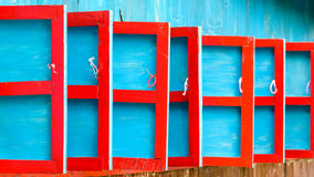 Red and blue wooden shutters Stock Image