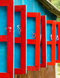 Red and blue wooden shutters Royalty Free Stock Photo