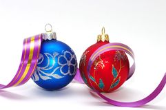 Red and blue xmas balls Royalty Free Stock Photo