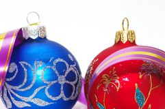 Red and blue xmas balls Stock Photo