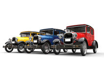 Red, blue and yellow beautiful 1920s vintage cars Stock Image