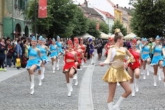 Red, blue and yellow cheerleaders Royalty Free Stock Photo